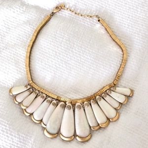 Gold/mother of pearl statement necklace